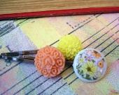 Orange Yellow Field of Flower Hair Pins