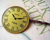 Timeless Paris Clock Hair Pin in Antique Gold Style