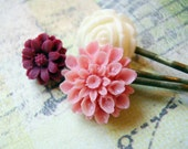 Berry and Cream Flower Hair Pins