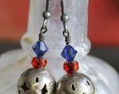 Vintage Filigree Bead Recycle Into Earrings - Birdcage