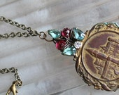 Where Hearts Are- Brass token embossed HOME joined with rhinestone relic for OOAK necklace