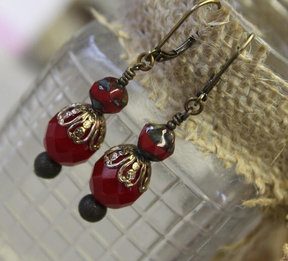 Cherry Red and Vintage Bead Caps joined for Casual Earrings-PAINTED RED
