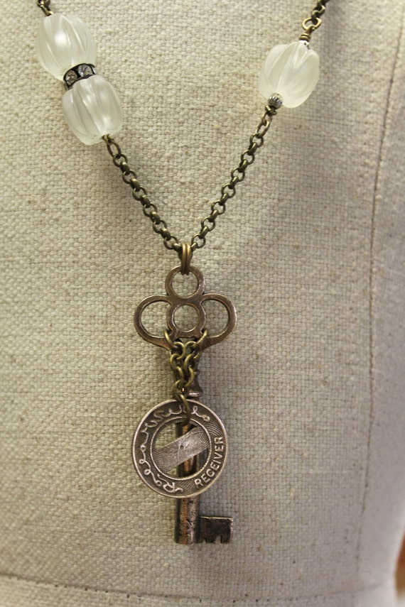Vintage Token of 1920s with Brass Key for Unique  Upcycled Necklace