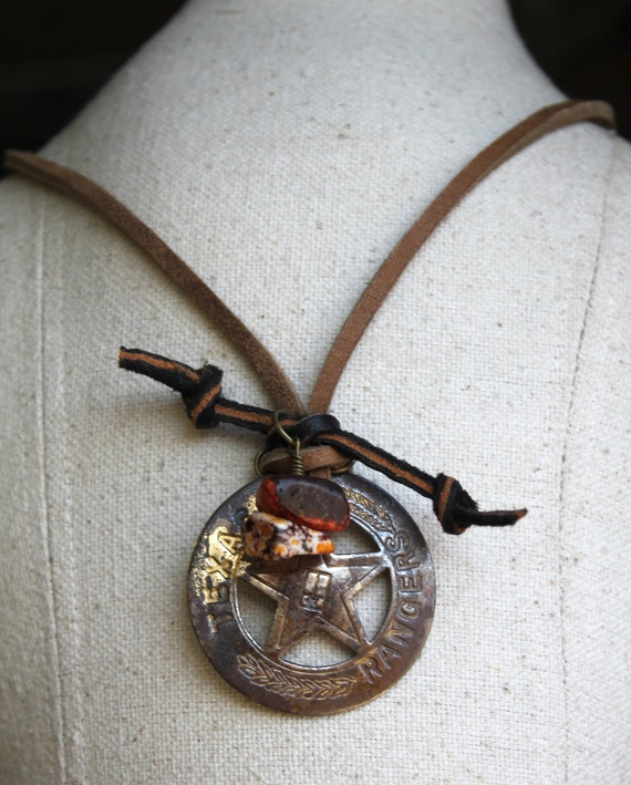 Vintage Texas Ranger Relic and Leather Up scaled into Unique One of a Kind Necklace- RANGER TRADITION