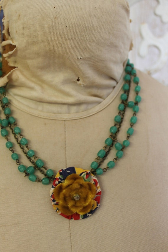 Vintage Pinwheel Relic of Multi Color Repurposed for One of a Kind Anthro Inspired Necklace- Pinwheel Kunda Girl