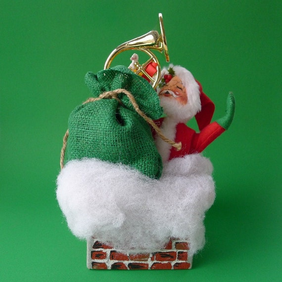 Vintage Santa Claus Annalee Doll In A Chimney By