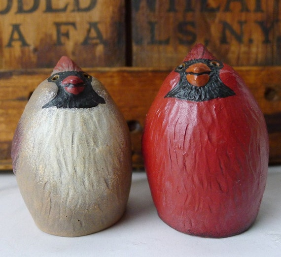 Folk Art Birds Vintage Pudgy Stylized Cardinals for Your Whatnot Shelf Collection Mr. & Mrs. A Happy Pair - Treasury Item