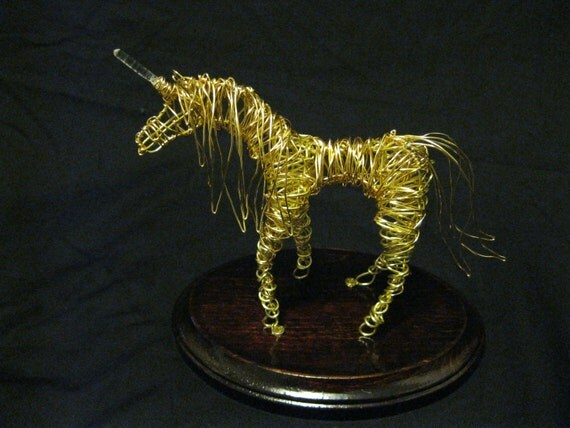 Reserved for Karen Dooley --Golden Unicorn Wire Sculpture