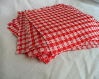 "LAST ONE 30 ct 6"" X 6"" vintage red and white plaid poly fabric squares"