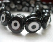 10mm Black Round Flat Glass Evil Eye Beads-10 pieces in a bag