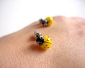 Yellow Ladybug Stud Earrings