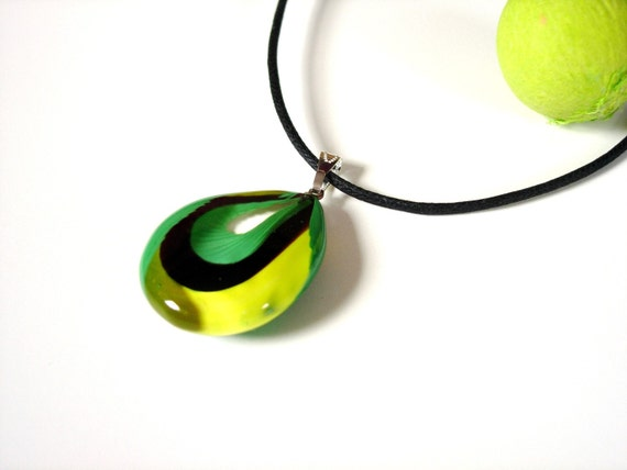 Green and Yellow Tides Murano Glass Pendant Necklace