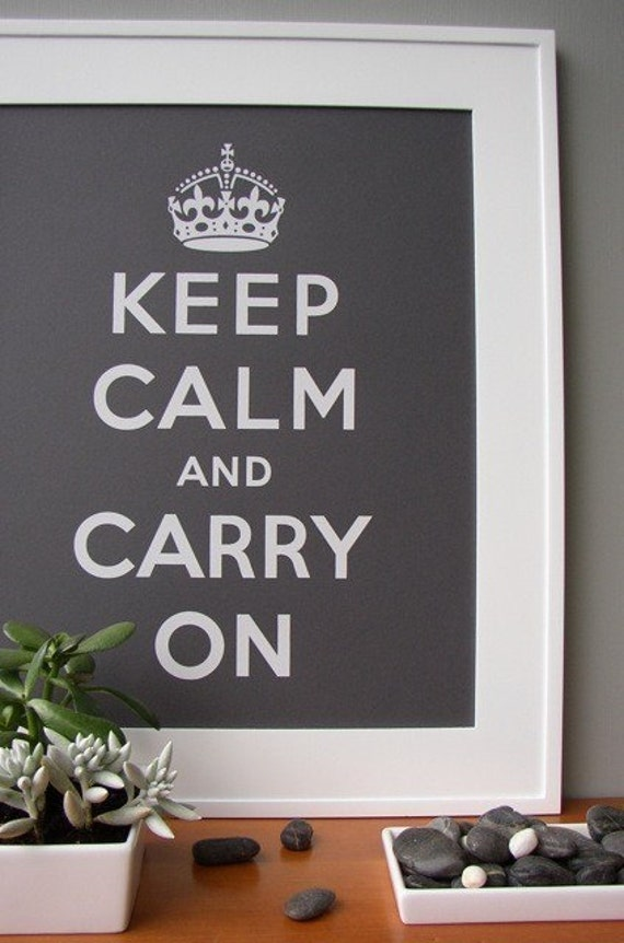 Steel Gray Keep Calm and Carry On 16 x 20 poster