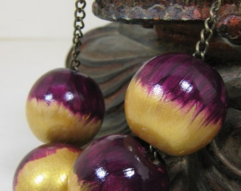 Large Bead Necklace, Large Wooden Beads, Violet and Gold, Violet Red, Reddish Purple, Handmade
