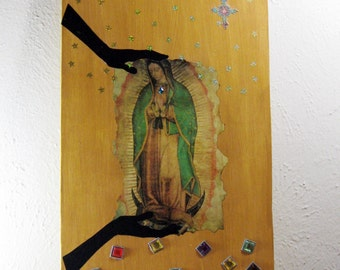Collage on Wood - Wall Art, Mixed Media, Original Collage, Virgin Mary, Mary and Jesus, Contemporary Art,
