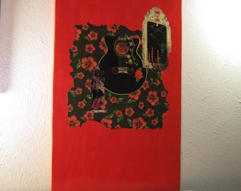 Collage on Wood, Pop Art, Mixed Media Art, Black and Red, Modern Art, Pop Art, Art on Wood