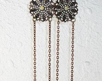 Long Earrings, Lemon Yellow, Shoulder Dusters,  Cooper Brown, Geisha Girl, Japanese Jewelry, handmade