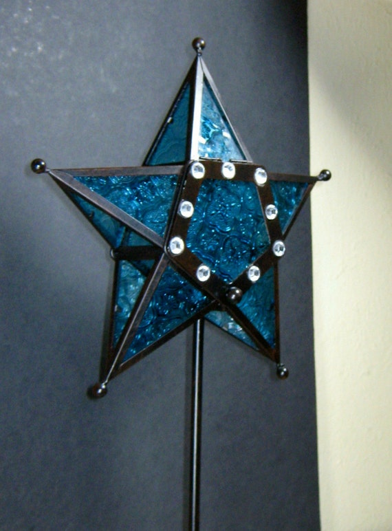 Wrought Iron Star Tea Candle Holder Royal Blue and Black  (Tall)
