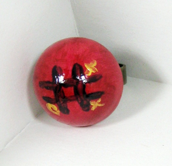 Wood Ring, Tic Tac Toe Jewelry,  Dome Ring, Tic Tac Toe Ring, Whimsical Ring, Whimsical Jewelry, Adjustable