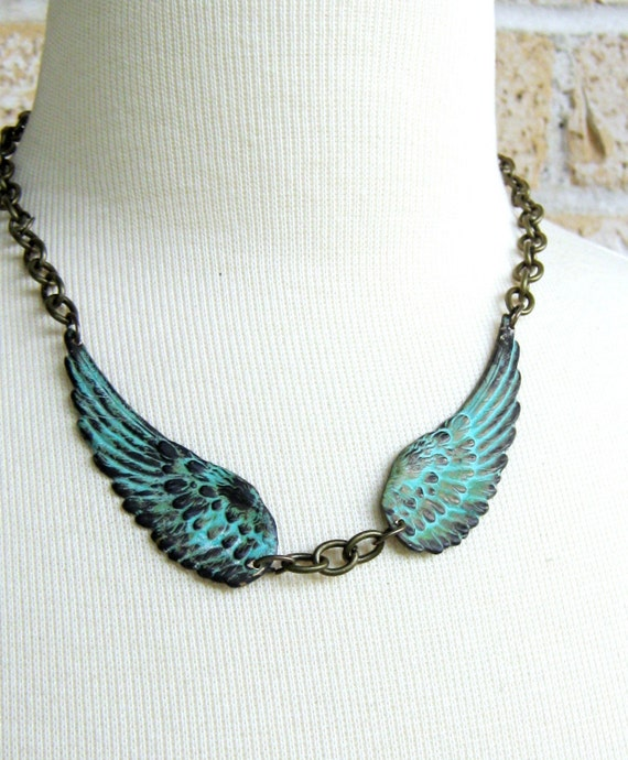 Angel Wings Necklace - Patina Green, Steampunk, Goth, Large Wings, Metal Necklace