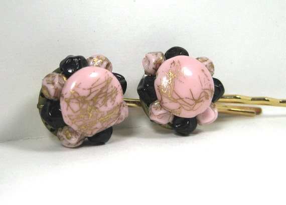 Vintage Pink and  Black Bakelite Hair Jewelry Set (2)
