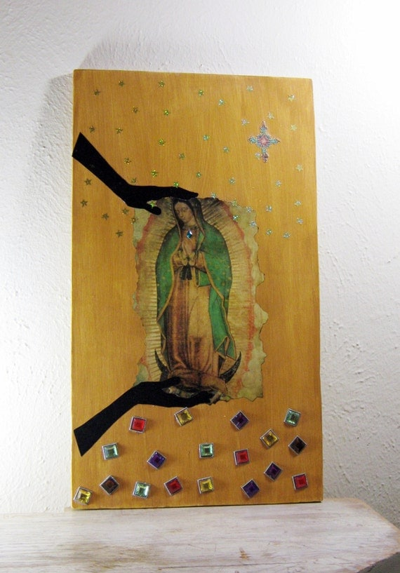 Collage on Wood,  Wall Art, Mixed Media, Original Collage, Mother of Jesus, Virgin Mary, Contemporary Art,