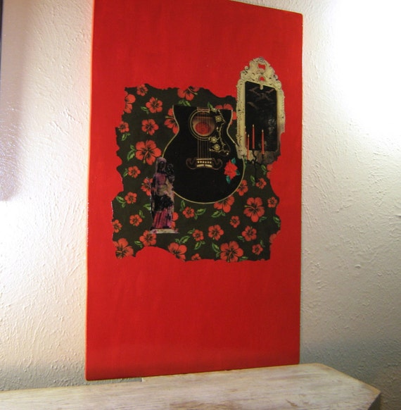 Collage on Wood, Pop Art, Mixed Media Art, Black and Red, Modern Art, Pop Art, Art on Wood