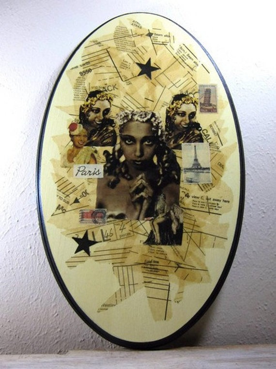 Josephine Baker - Original Mixed Media Collage, Pinup Girl, Black Art, Dancer, Oval Shaped Wood, Large