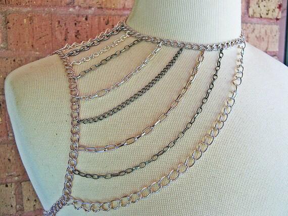 Shoulder Harness Necklace - Shoulder Chain Necklace - Silver Body Chain - Silver Chain - Metal Necklace - Shoulder Harness