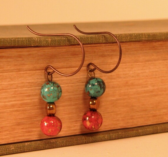 Blue and Cooper Glass Bead  Earrings - Simple Elegance - Dangle