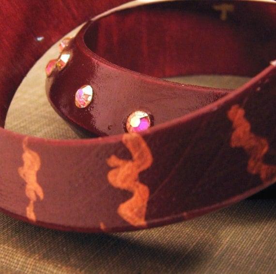 Bracelet Set, Stackable Bracelets, Wooden Bangle, Bangle Set, Sangria Red - Cooper - Fiery Orange - Fire Dancer and Ice (2)