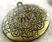 SALE- Large Locket Charms Pendant Antique-Bronze Style 36x32mm b42b (2pcs)
