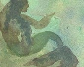 Sandbar Mermaid - Original Watercolor