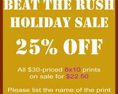 Pre-Holiday SALE - 25 Percent Off All 8x10 Photographic Prints