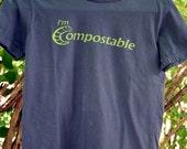 Women's Medium Navy Organic Cotton T-Shirt - I'm Compostable