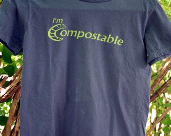 Women's Medium Navy Organic Cotton T-Shirt - I'm Compostable