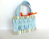 Earth Tone Striped Crayon/Doodle Bag with Sky Blue Ruffle