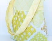 Pleated Convertable Crossbody/ShoulderBag/Small Diaper Bag withVintage Yellow on White Patchwork cotton Print with Yellow,White,Tan Plaid