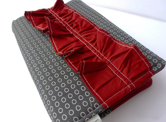 Modern Charcoal Bible Cover with Cranberry Red Ruffle- Made to fit your bible