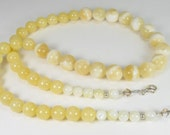 Golden Yellow Necklace, Mother of Pearl Jewelry, Swarovski Crystals, Sterling Silver