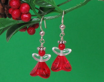 Christmas Angels, Red Angel Earrings, Guardian Angel, Christmas Earrings