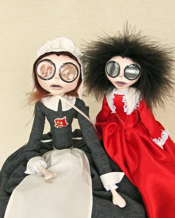 Hester Prynne and Little Pearl - Gothic Scarlet Letter Art Dolls