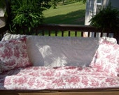 Red White Toile Porch Swing Cushion Pillow Cover Set 3 pc