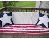 PATRIOTIC Memorial Day  July 4th  Red White Blue Porch Swing Cushion Pillow Cover Set of 3 covers