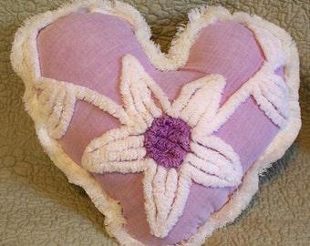 Precious Lavender Purple White Vintage Chenille Heart Pillow