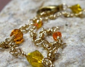 Anklet Jewelry,  Yellow and Orange on Gold