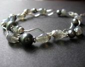 Gray Wave Bracelet - Labradorite, Sterling Silver, Swarovski Pearl by Simple Elements Design