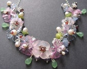 Flower Necklace - Lucite, Garnet, Sterling Silver, Pearl, Chalcedony, Iolite by Simple Elements Design