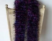 Purple and black fuzzy scarf