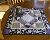 Purple iris table topper